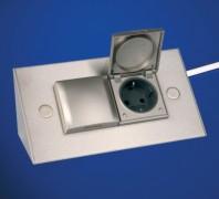 Ecksteckdose Thebo 2fach & Deckel Aluminium