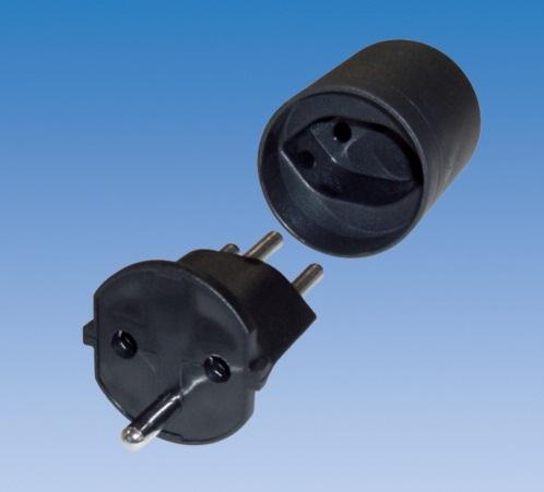 adapter von schuko auf schweizer stecker schwarz 240000710. Black Bedroom Furniture Sets. Home Design Ideas