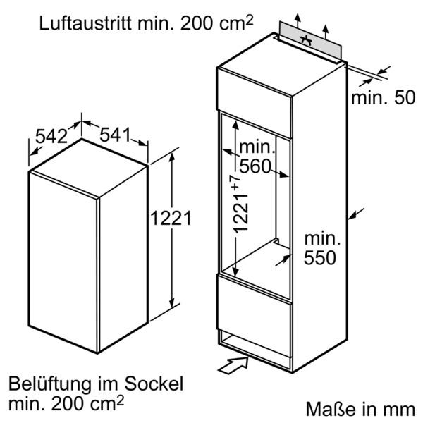 siemens ki24rv52 einbauk hlschrank nische 122 5 cm 140000783. Black Bedroom Furniture Sets. Home Design Ideas